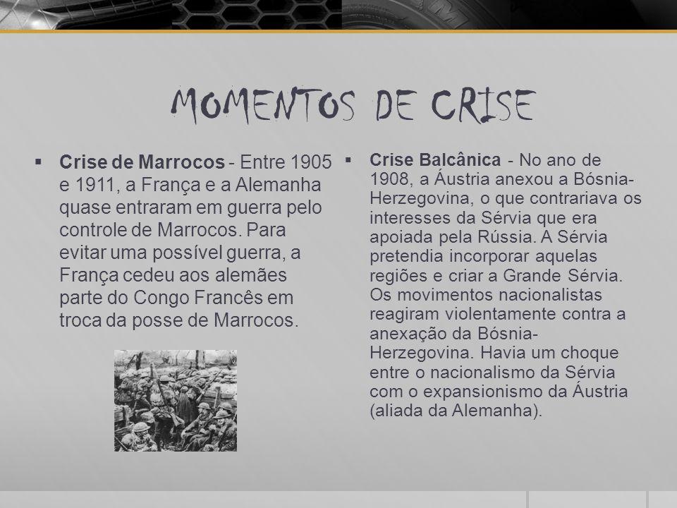 MOMENTOS DE CRISE  Crise de Marrocos - Entre 1905 e 1911, a França e a Alemanha quase entraram em guerra pelo controle de Marrocos. Para evitar uma p