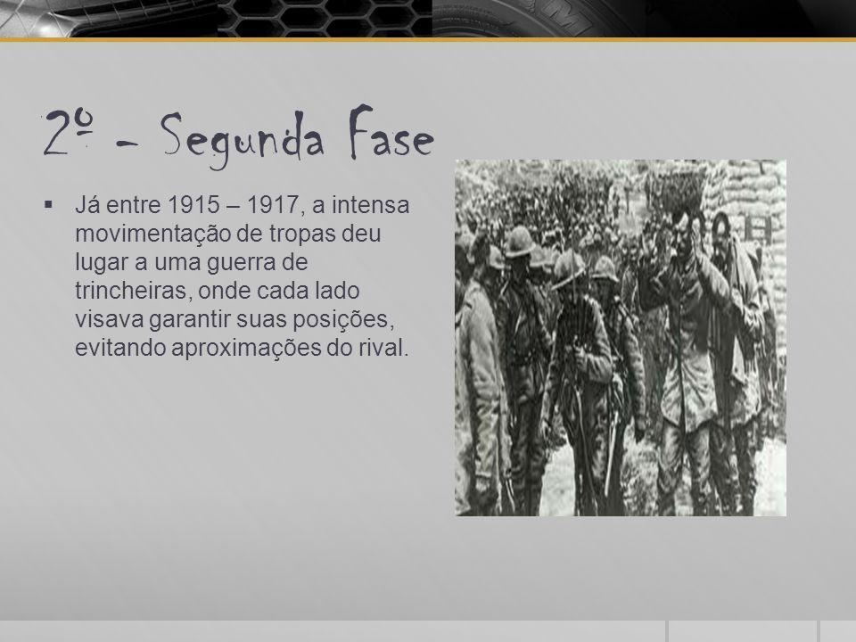 3º - Terceira Fase  Durante 1917 – 1918 houve a entrada de outros países no conflito.
