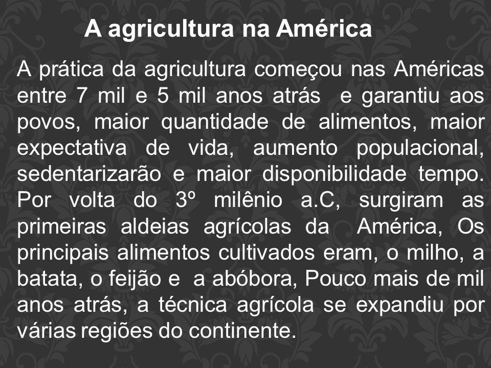 A agricultura na América A prática da agricultura começou nas Américas entre 7 mil e 5 mil anos atrás e garantiu aos povos, maior quantidade de alimen