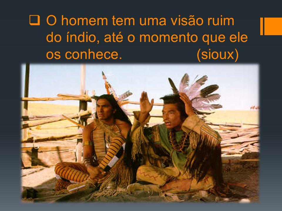  O homem tem uma visão ruim do índio, até o momento que ele os conhece. (sioux)
