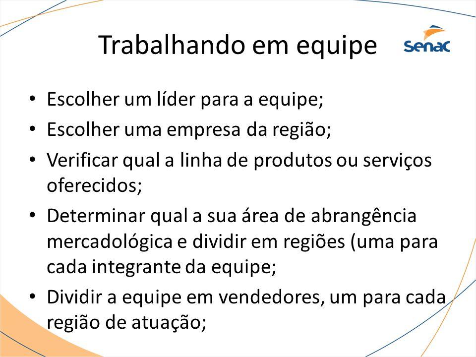 Trabalhando em equipe Escolher um líder para a equipe; Escolher uma empresa da região; Verificar qual a linha de produtos ou serviços oferecidos; Dete