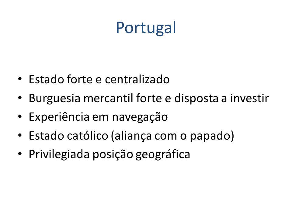 Portugal Estado forte e centralizado Burguesia mercantil forte e disposta a investir Experiência em navegação Estado católico (aliança com o papado) P