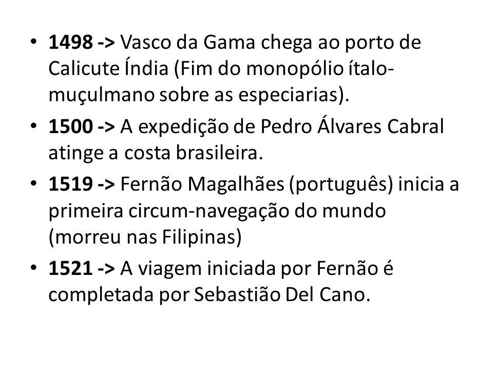 1498 -> Vasco da Gama chega ao porto de Calicute Índia (Fim do monopólio ítalo- muçulmano sobre as especiarias). 1500 -> A expedição de Pedro Álvares