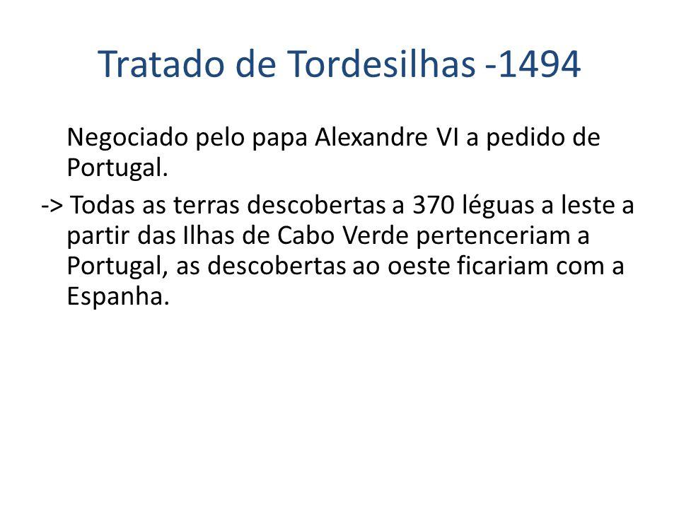 Tratado de Tordesilhas -1494 Negociado pelo papa Alexandre VI a pedido de Portugal. -> Todas as terras descobertas a 370 léguas a leste a partir das I