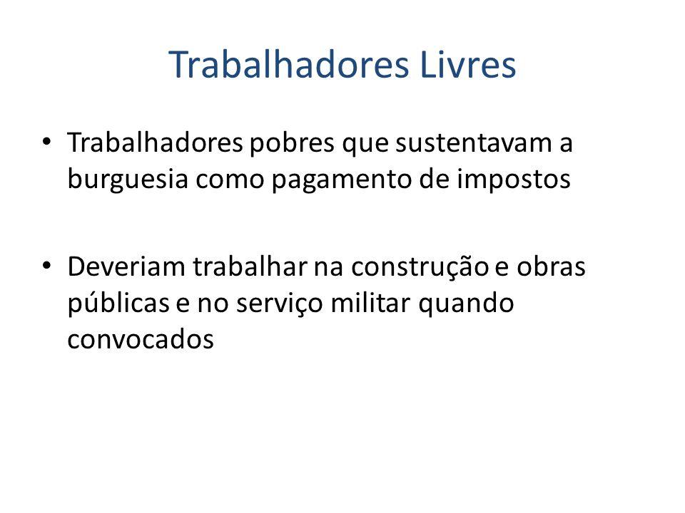 Trabalhadores Livres Trabalhadores pobres que sustentavam a burguesia como pagamento de impostos Deveriam trabalhar na construção e obras públicas e no serviço militar quando convocados