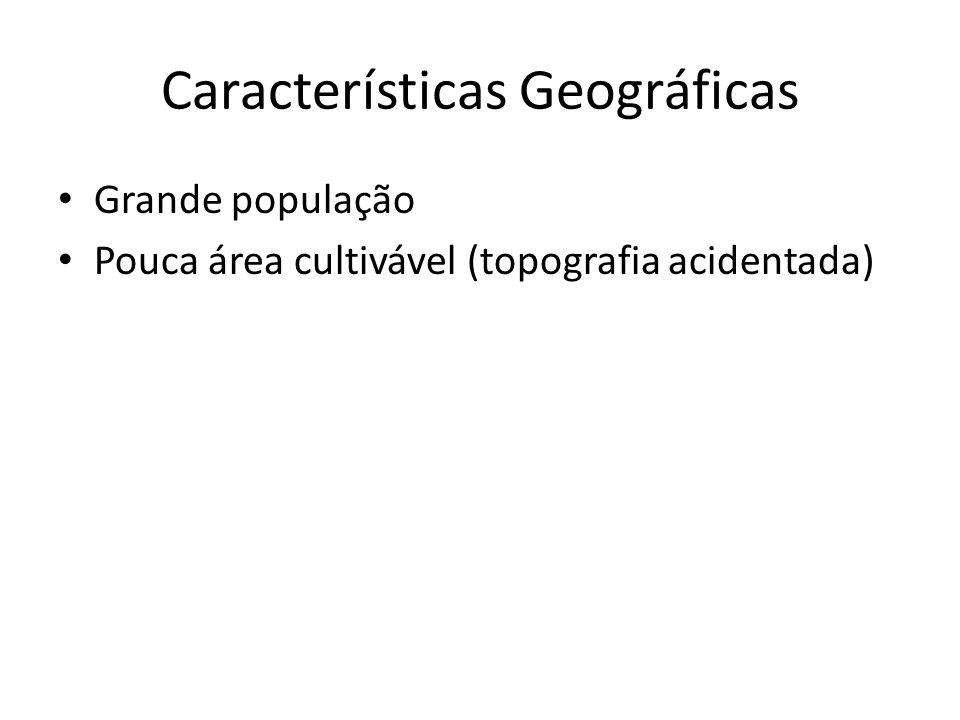 Características Geográficas Grande população Pouca área cultivável (topografia acidentada)