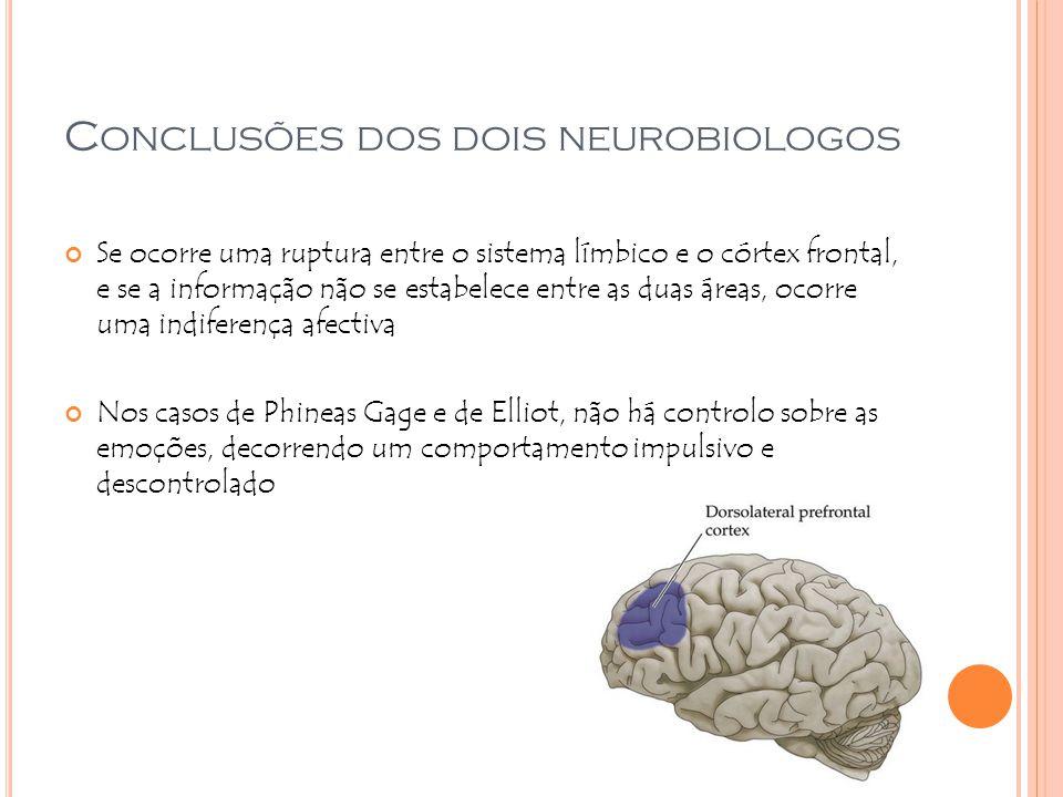 C ONCLUSÕES DOS DOIS NEUROBIOLOGOS Se ocorre uma ruptura entre o sistema límbico e o córtex frontal, e se a informação não se estabelece entre as duas