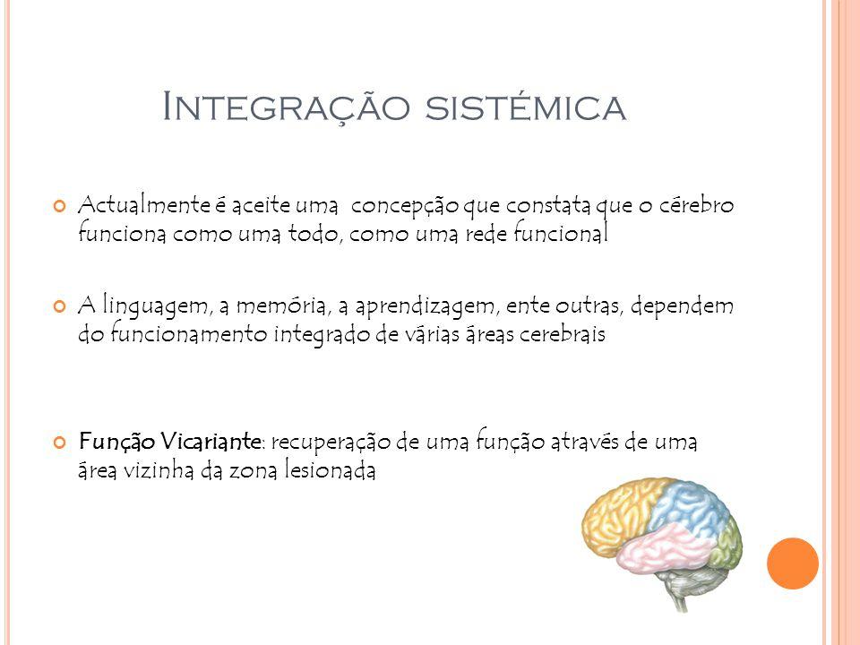 I NTEGRAÇÃO SISTÉMICA Actualmente é aceite uma concepção que constata que o cérebro funciona como uma todo, como uma rede funcional A linguagem, a mem