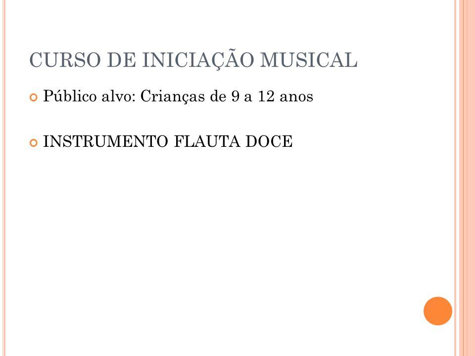 CURSO DE INICIAÇÃO MUSICAL Público alvo: Crianças de 9 a 12 anos INSTRUMENTO FLAUTA DOCE