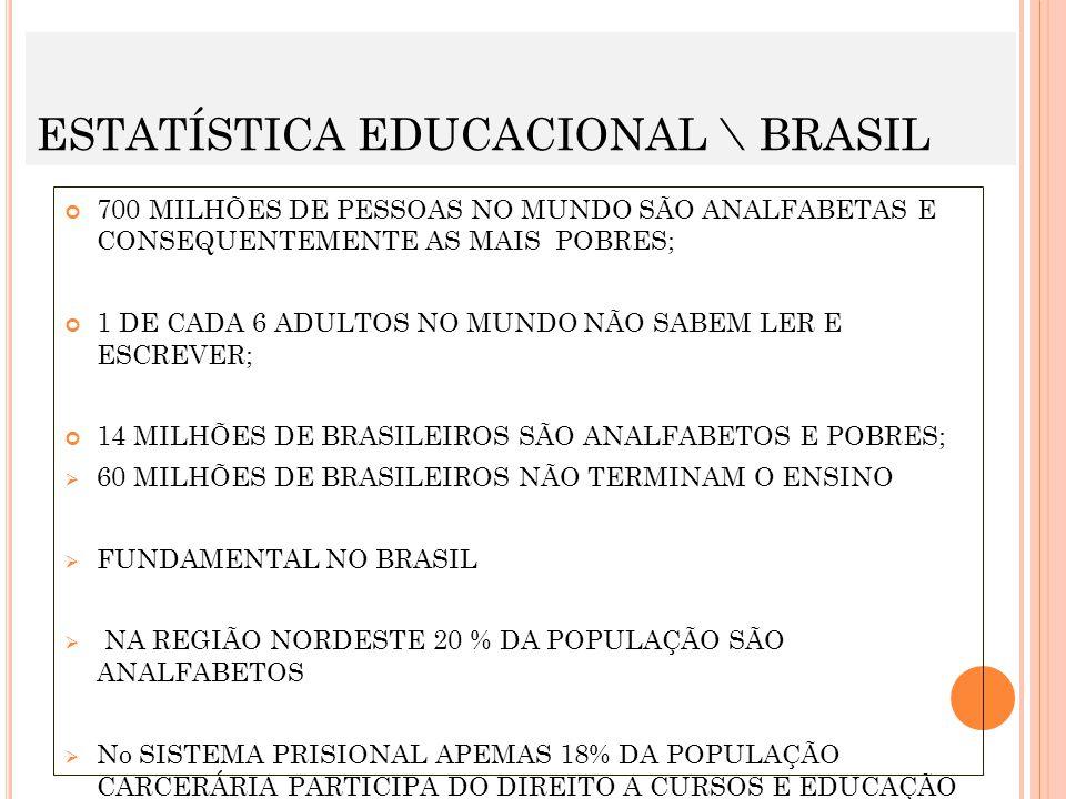 ESTATÍSTICA EDUCACIONAL \ BRASIL 700 MILHÕES DE PESSOAS NO MUNDO SÃO ANALFABETAS E CONSEQUENTEMENTE AS MAIS POBRES; 1 DE CADA 6 ADULTOS NO MUNDO NÃO S