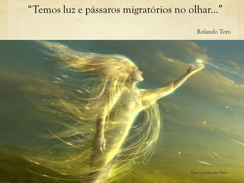 """""""Temos luz e pássaros migratórios no olhar..."""" Rolando Toro Gravura Salvador Dali"""
