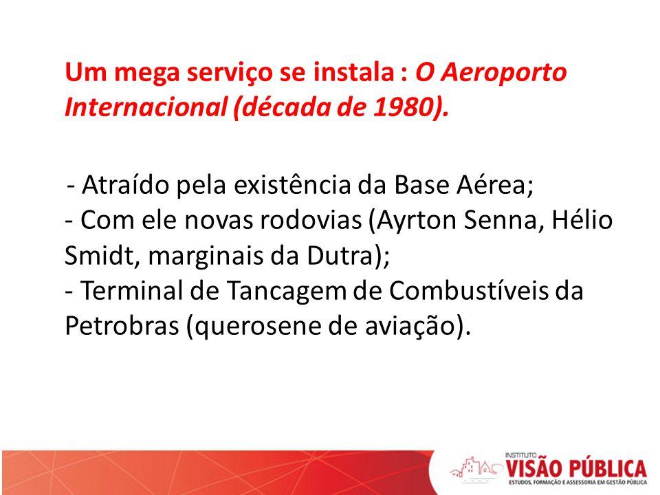 Um mega serviço se instala : O Aeroporto Internacional (década de 1980). - Atraído pela existência da Base Aérea; - Com ele novas rodovias (Ayrton Sen