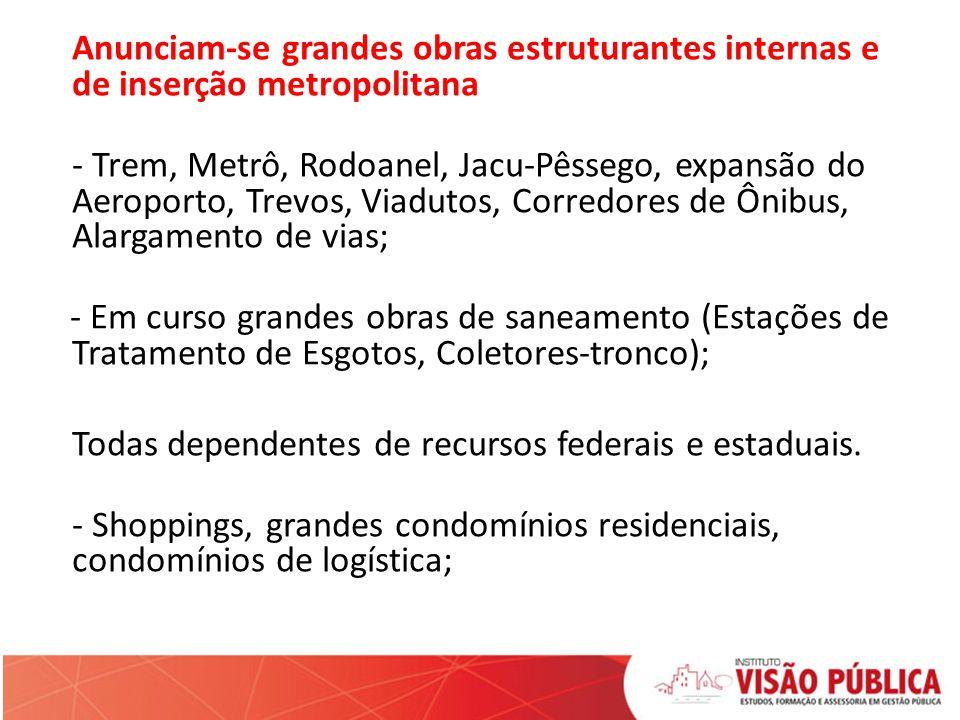 Anunciam-se grandes obras estruturantes internas e de inserção metropolitana - Trem, Metrô, Rodoanel, Jacu-Pêssego, expansão do Aeroporto, Trevos, Via