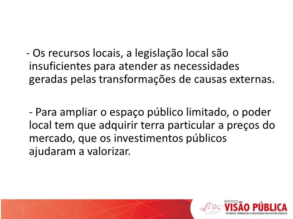 - Os recursos locais, a legislação local são insuficientes para atender as necessidades geradas pelas transformações de causas externas.