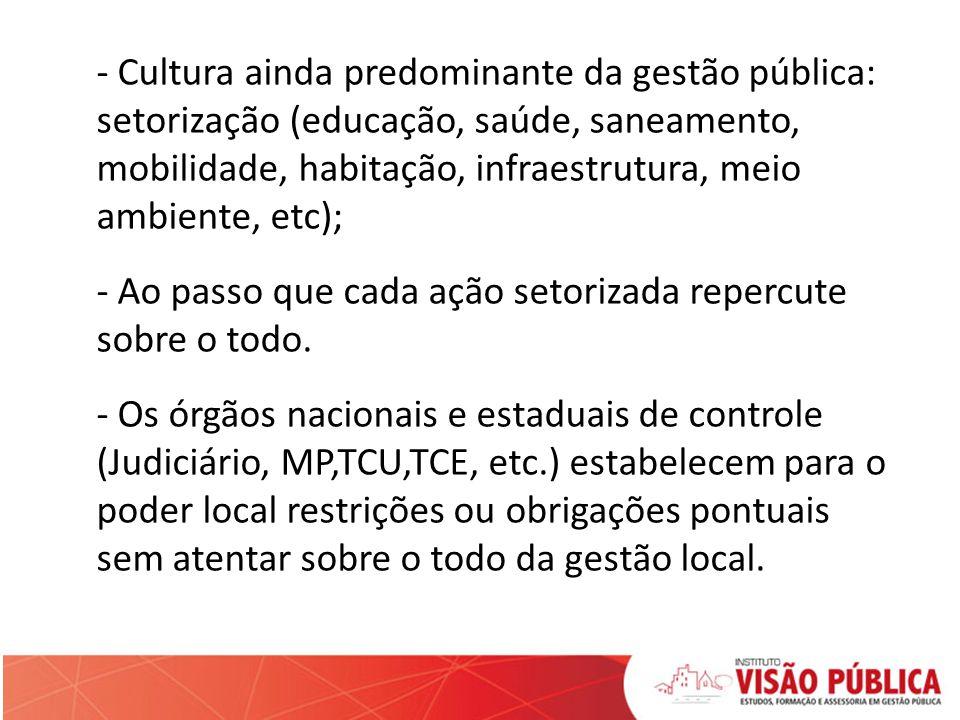 - Cultura ainda predominante da gestão pública: setorização (educação, saúde, saneamento, mobilidade, habitação, infraestrutura, meio ambiente, etc);