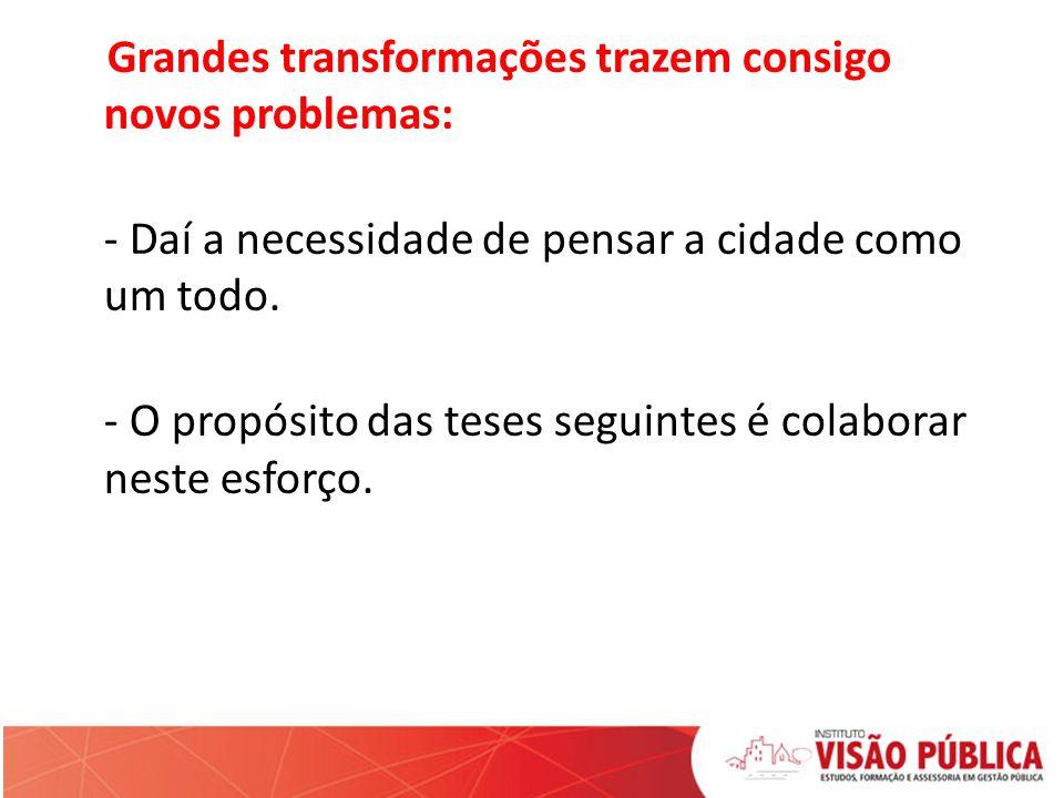 TESE 1 É DE FORA QUE SÃO PROVOCADAS AS GRANDES TRANSFORMAÇÕES NA CIDADE.