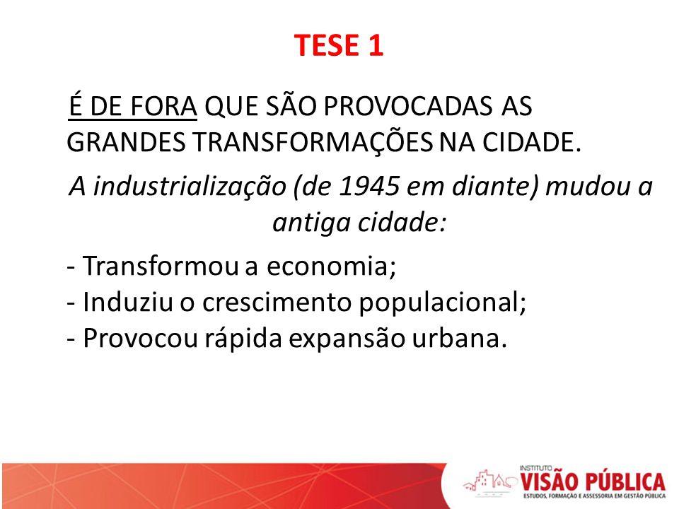 TESE 1 É DE FORA QUE SÃO PROVOCADAS AS GRANDES TRANSFORMAÇÕES NA CIDADE. A industrialização (de 1945 em diante) mudou a antiga cidade: - Transformou a