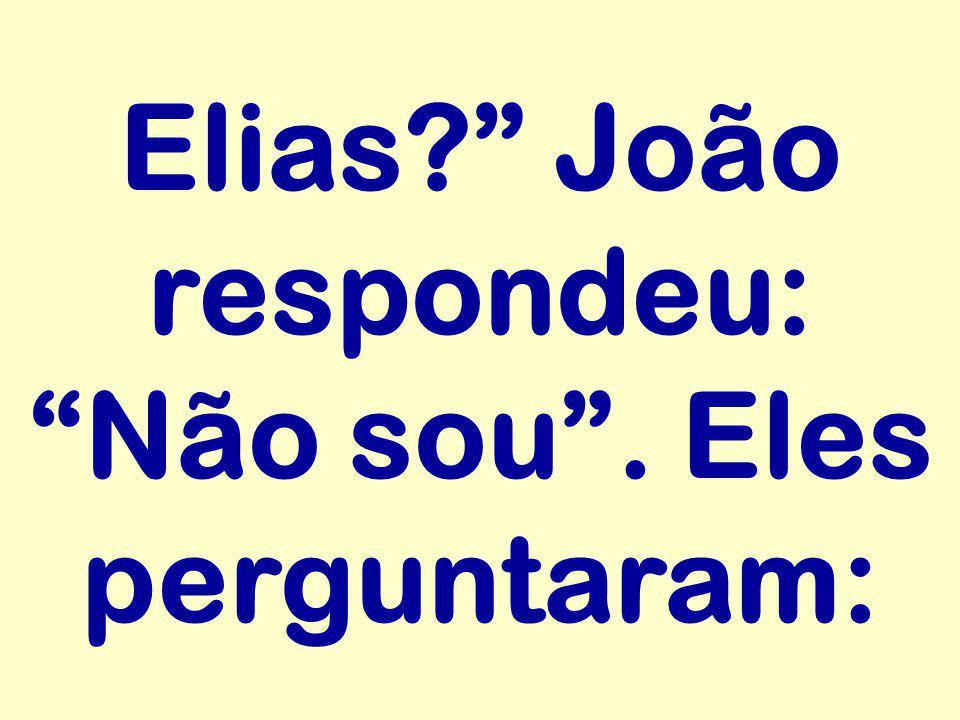"""Elias?"""" João respondeu: """"Não sou"""". Eles perguntaram:"""