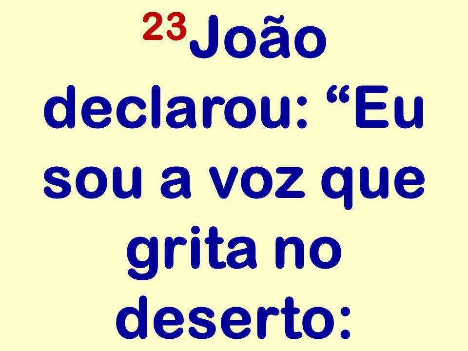 """23 João declarou: """"Eu sou a voz que grita no deserto:"""