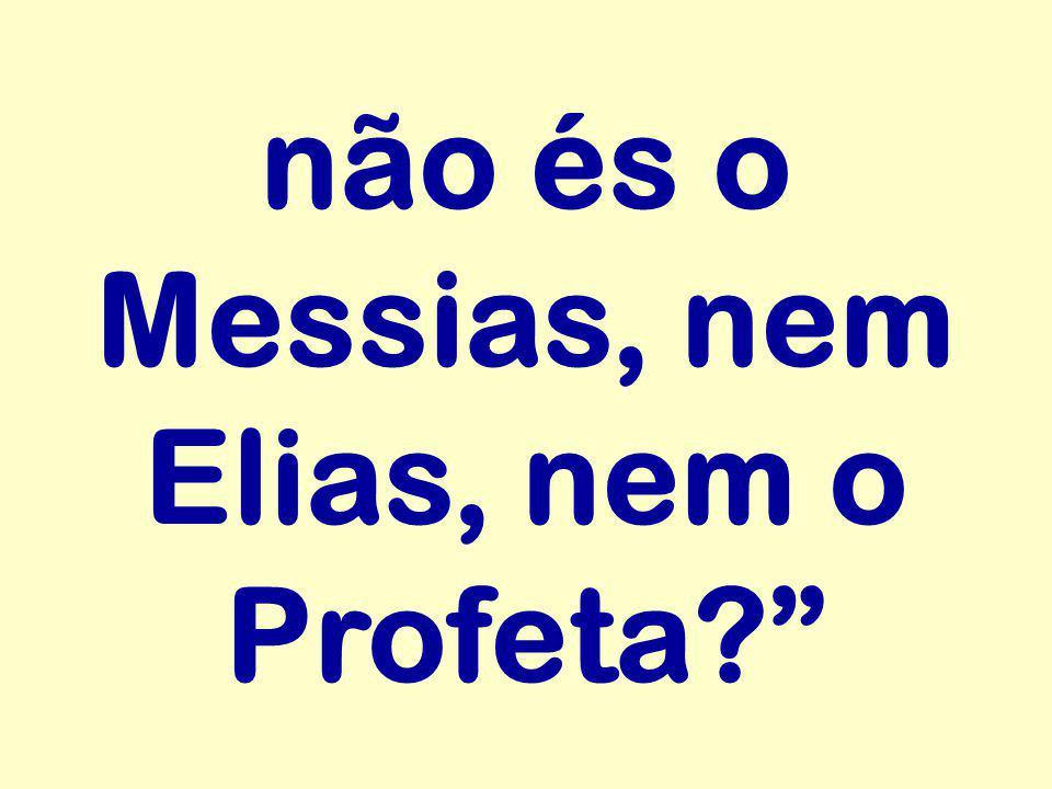 """não és o Messias, nem Elias, nem o Profeta?"""""""