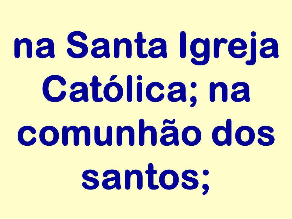 na Santa Igreja Católica; na comunhão dos santos;