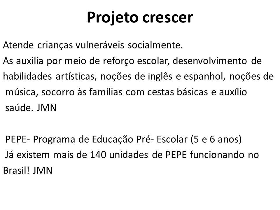 Projeto crescer Atende crianças vulneráveis socialmente. As auxilia por meio de reforço escolar, desenvolvimento de habilidades artísticas, noções de