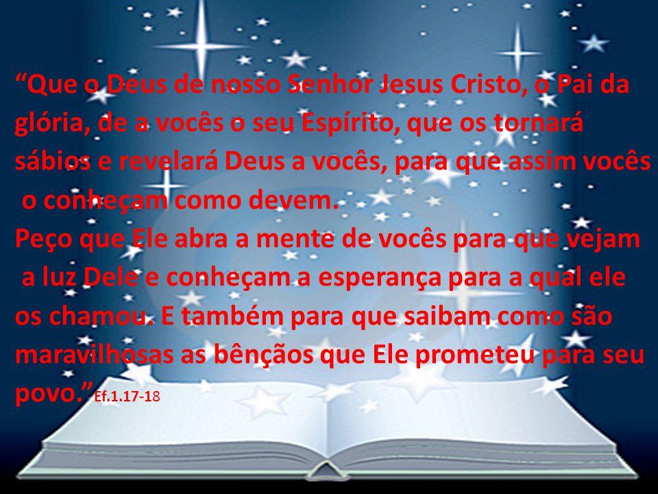 """""""Que o Deus de nosso Senhor Jesus Cristo, o Pai da glória, de a vocês o seu Espírito, que os tornará sábios e revelará Deus a vocês, para que assim vo"""
