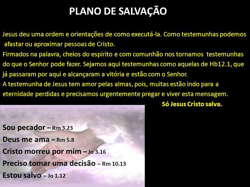 PLANO DE SALVAÇÃO Jesus deu uma ordem e orientações de como executá-la. Como testemunhas podemos afastar ou aproximar pessoas de Cristo. Firmados na p