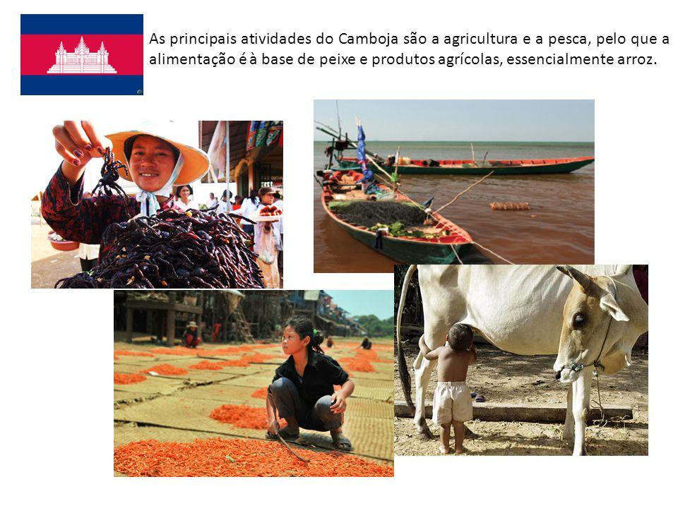 As principais atividades do Camboja são a agricultura e a pesca, pelo que a alimentação é à base de peixe e produtos agrícolas, essencialmente arroz.