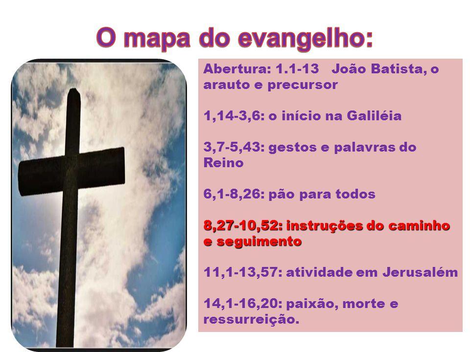 Abertura: 1.1-13 João Batista, o arauto e precursor 1,14-3,6: o início na Galiléia 3,7-5,43: gestos e palavras do Reino 6,1-8,26: pão para todos 8,27-