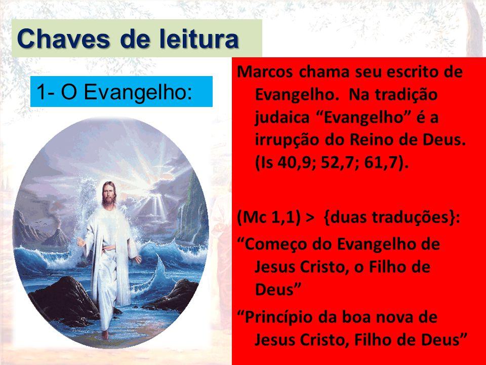 """Marcos chama seu escrito de Evangelho. Na tradição judaica """"Evangelho"""" é a irrupção do Reino de Deus. (Is 40,9; 52,7; 61,7). (Mc 1,1) > {duas traduçõe"""