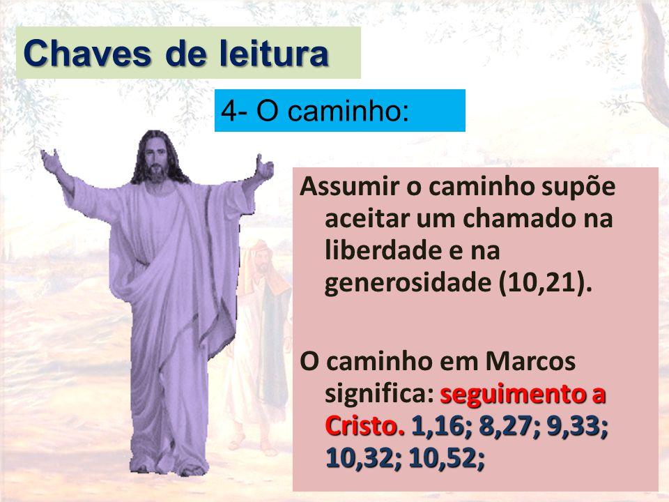 Assumir o caminho supõe aceitar um chamado na liberdade e na generosidade (10,21). seguimento a Cristo. 1,16; 8,27; 9,33; 10,32; 10,52; O caminho em M