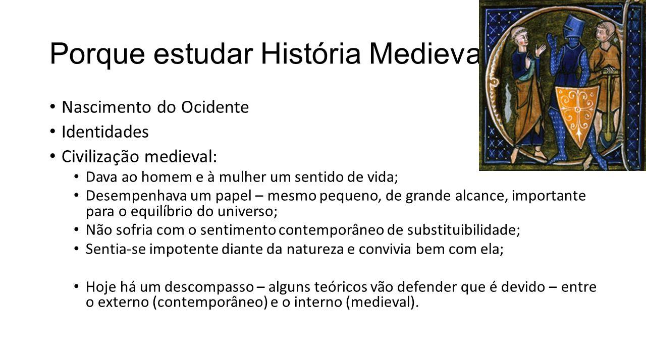 Porque estudar História Medieval Nascimento do Ocidente Identidades Civilização medieval: Dava ao homem e à mulher um sentido de vida; Desempenhava um