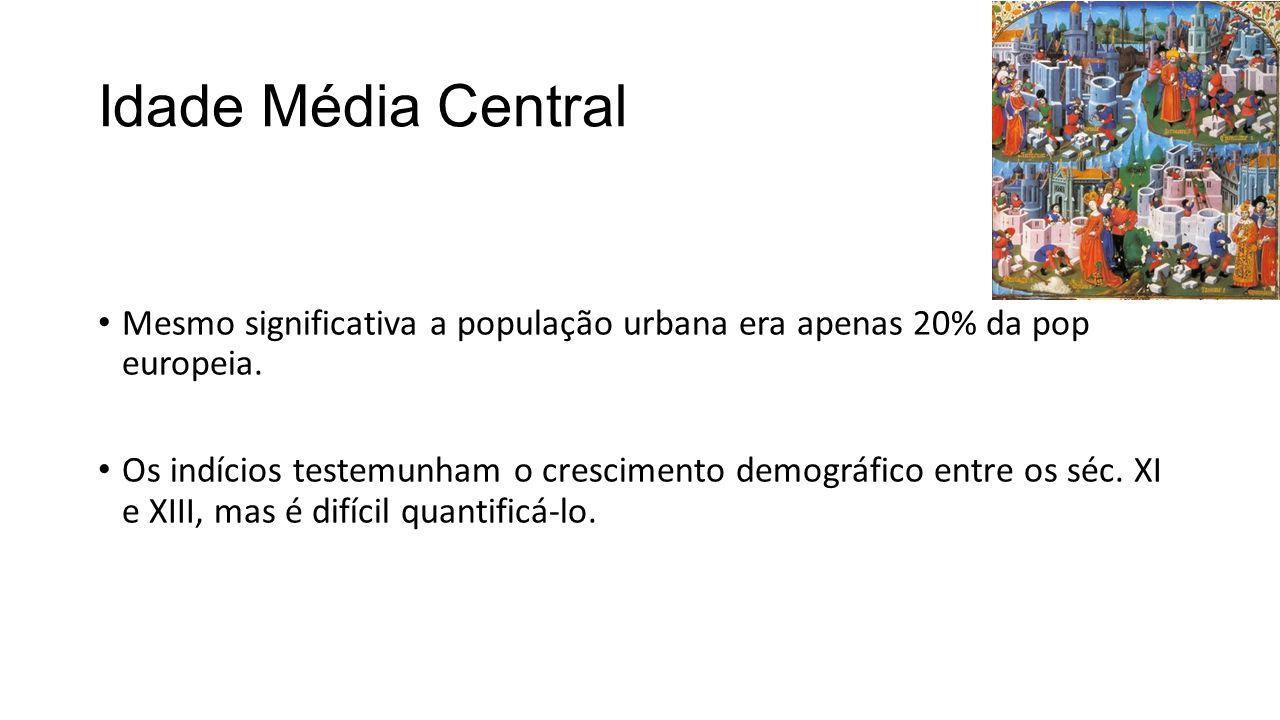Idade Média Central Mesmo significativa a população urbana era apenas 20% da pop europeia. Os indícios testemunham o crescimento demográfico entre os