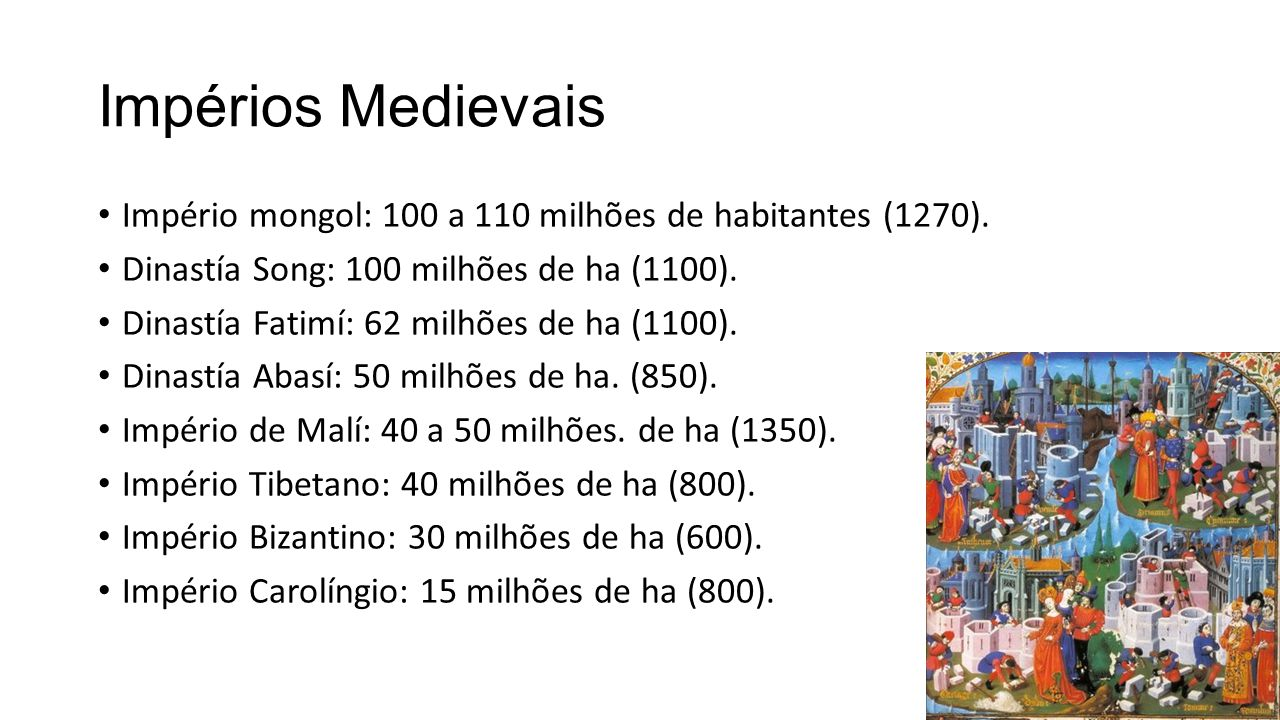 Impérios Medievais Império mongol: 100 a 110 milhões de habitantes (1270). Dinastía Song: 100 milhões de ha (1100). Dinastía Fatimí: 62 milhões de ha