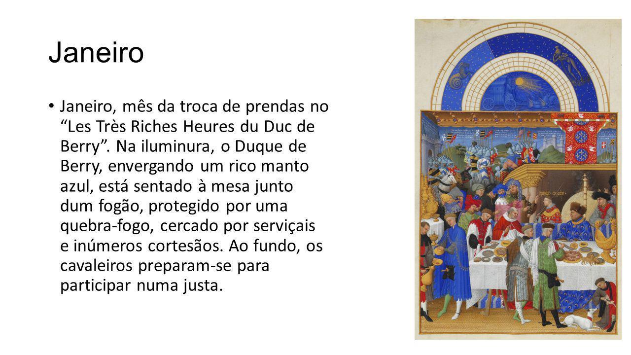 """Janeiro Janeiro, mês da troca de prendas no """"Les Très Riches Heures du Duc de Berry"""". Na iluminura, o Duque de Berry, envergando um rico manto azul, e"""