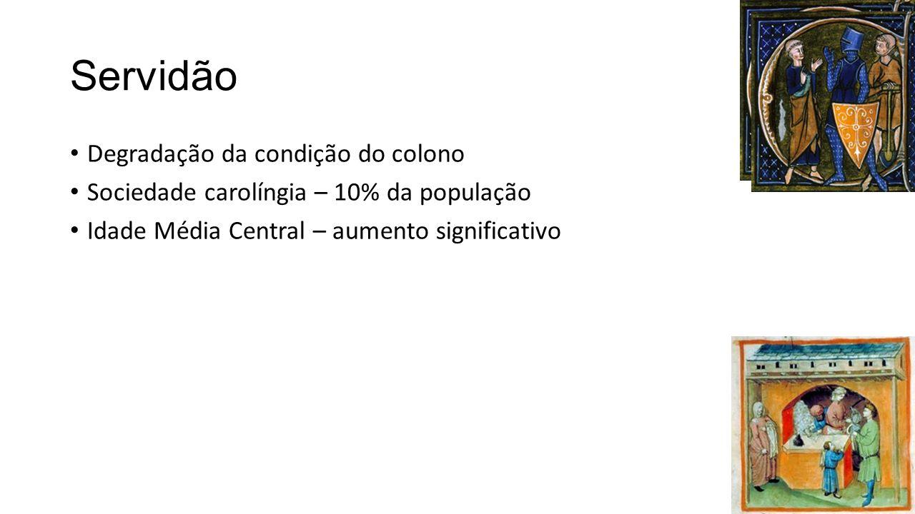 Servidão Degradação da condição do colono Sociedade carolíngia – 10% da população Idade Média Central – aumento significativo