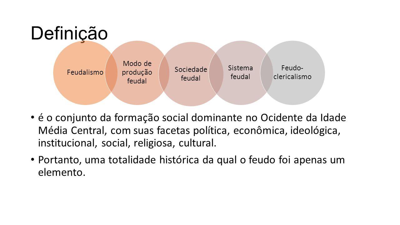 Definição é o conjunto da formação social dominante no Ocidente da Idade Média Central, com suas facetas política, econômica, ideológica, institucional, social, religiosa, cultural.