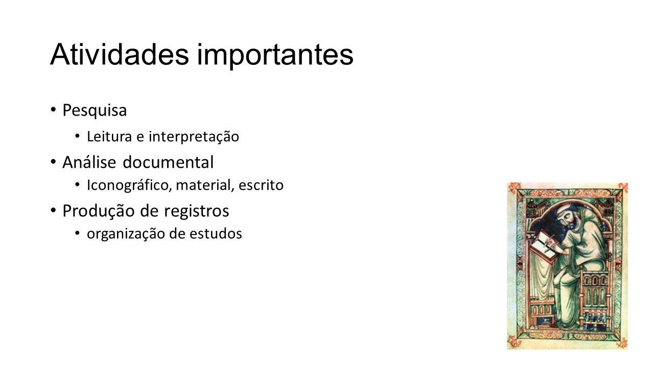 Atividades importantes Pesquisa Leitura e interpretação Análise documental Iconográfico, material, escrito Produção de registros organização de estudo