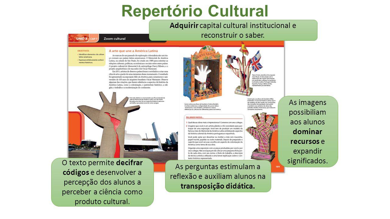 Repertório Cultural As imagens possibiliam aos alunos dominar recursos e expandir significados.