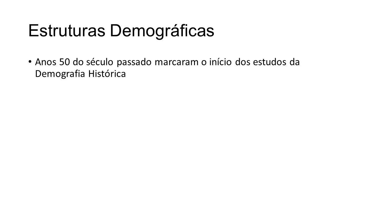 Estruturas Demográficas Anos 50 do século passado marcaram o início dos estudos da Demografia Histórica