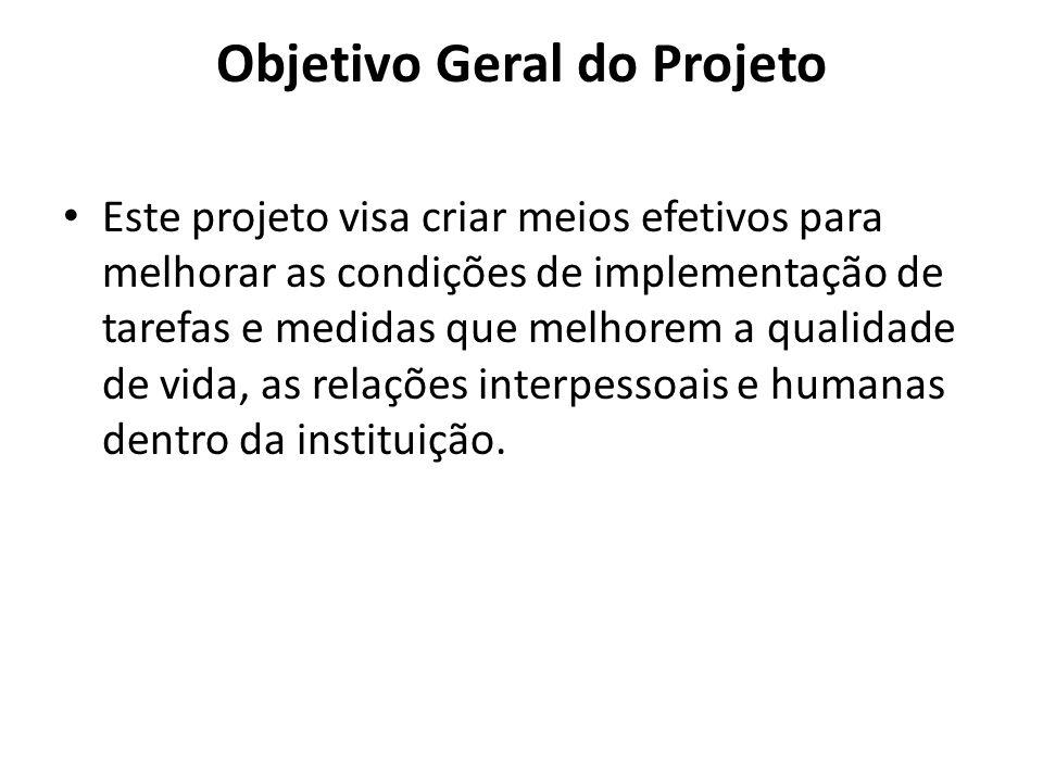 Objetivo Geral do Projeto Este projeto visa criar meios efetivos para melhorar as condições de implementação de tarefas e medidas que melhorem a quali