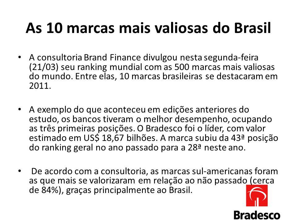 As 10 marcas mais valiosas do Brasil A consultoria Brand Finance divulgou nesta segunda-feira (21/03) seu ranking mundial com as 500 marcas mais valiosas do mundo.