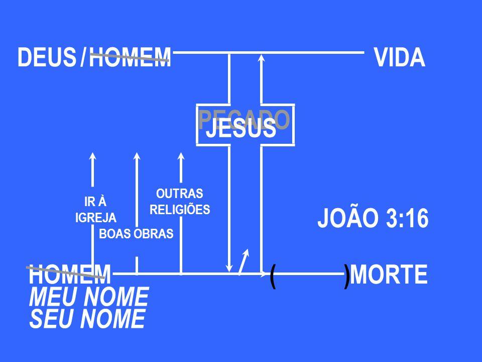 HOMEM JOÃO 3:16 ( ) MEU NOME SEU NOME BOAS OBRAS IR À IGREJA OUTRAS RELIGIÕES MORTE PECADO DEUS/VIDA JESUS