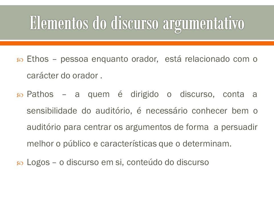  Ethos – pessoa enquanto orador, está relacionado com o carácter do orador.