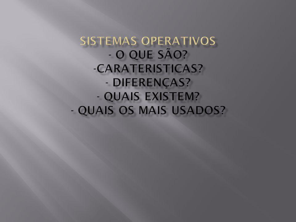  Sistema operativo é um programa ou um conjunto de programas cuja função é gerenciar os recursos do sistema,fornecendo uma interface entre o computador e o usuário.