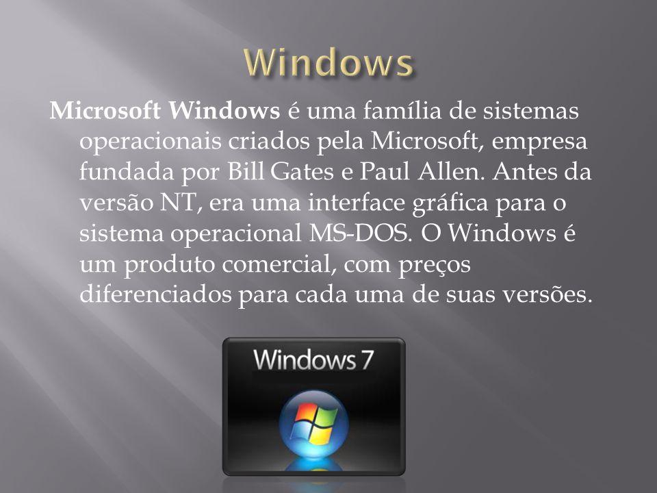 Microsoft Windows é uma família de sistemas operacionais criados pela Microsoft, empresa fundada por Bill Gates e Paul Allen. Antes da versão NT, era