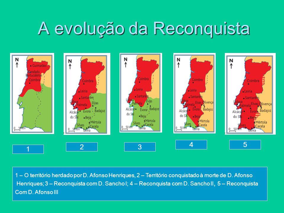 A evolução da Reconquista A evolução da Reconquista 1 23 4 1 – O território herdado por D. Afonso Henriques, 2 – Território conquistado à morte de D.