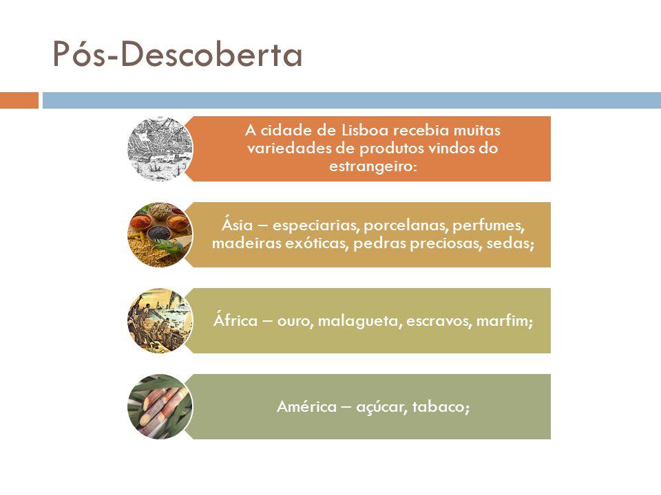 Pós-Descoberta A cidade de Lisboa recebia muitas variedades de produtos vindos do estrangeiro: Ásia – especiarias, porcelanas, perfumes, madeiras exóticas, pedras preciosas, sedas; África – ouro, malagueta, escravos, marfim; América – açúcar, tabaco;