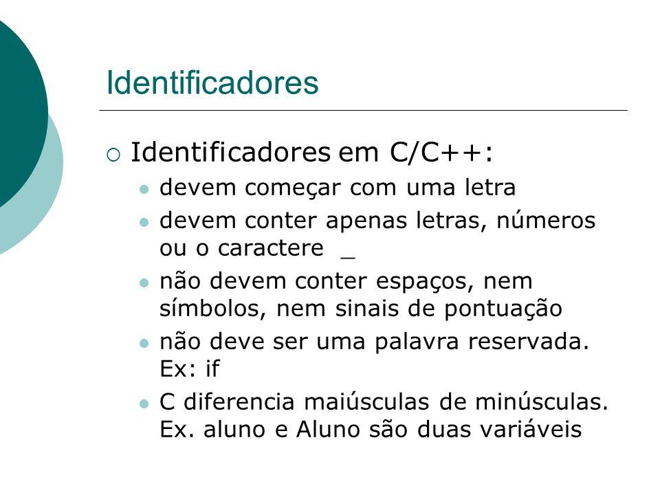 Identificadores  Identificadores em C/C++: devem começar com uma letra devem conter apenas letras, números ou o caractere _ não devem conter espaços, nem símbolos, nem sinais de pontuação não deve ser uma palavra reservada.